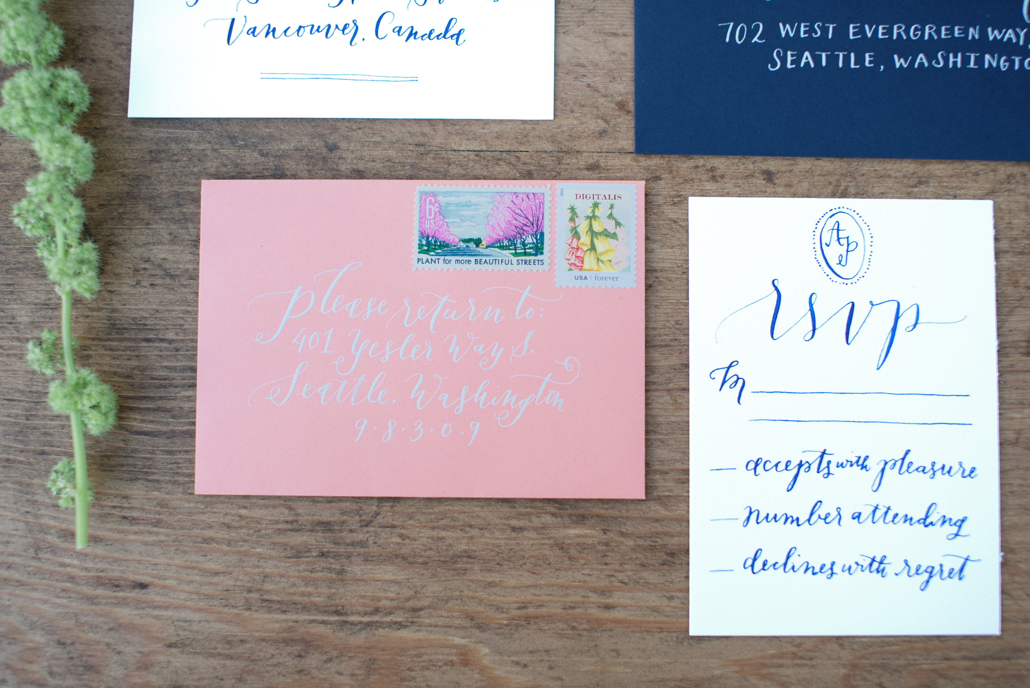 Modern Calligraphy Invitations by www.lahappy.com