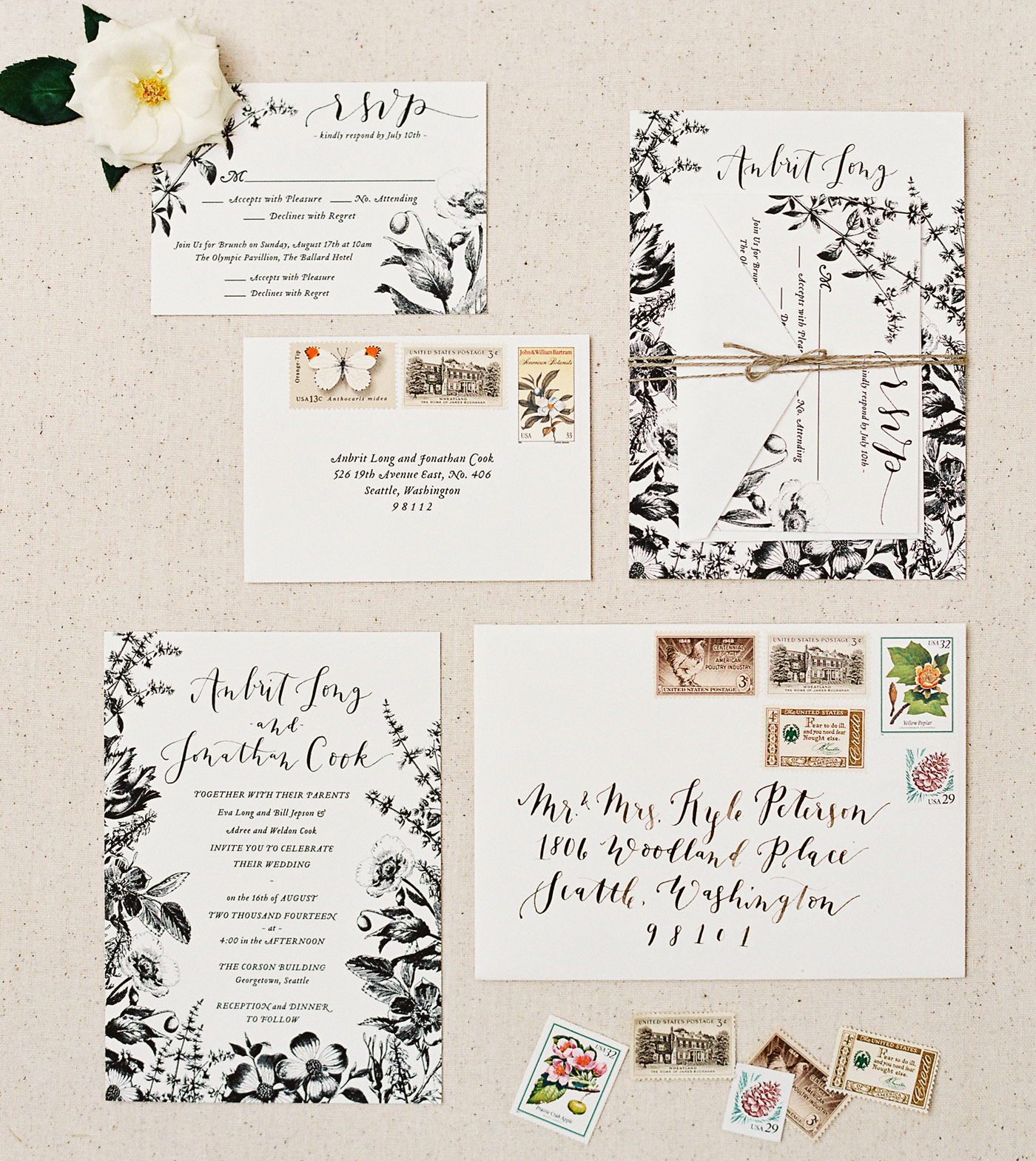 la Happy rustic botanical invitation set