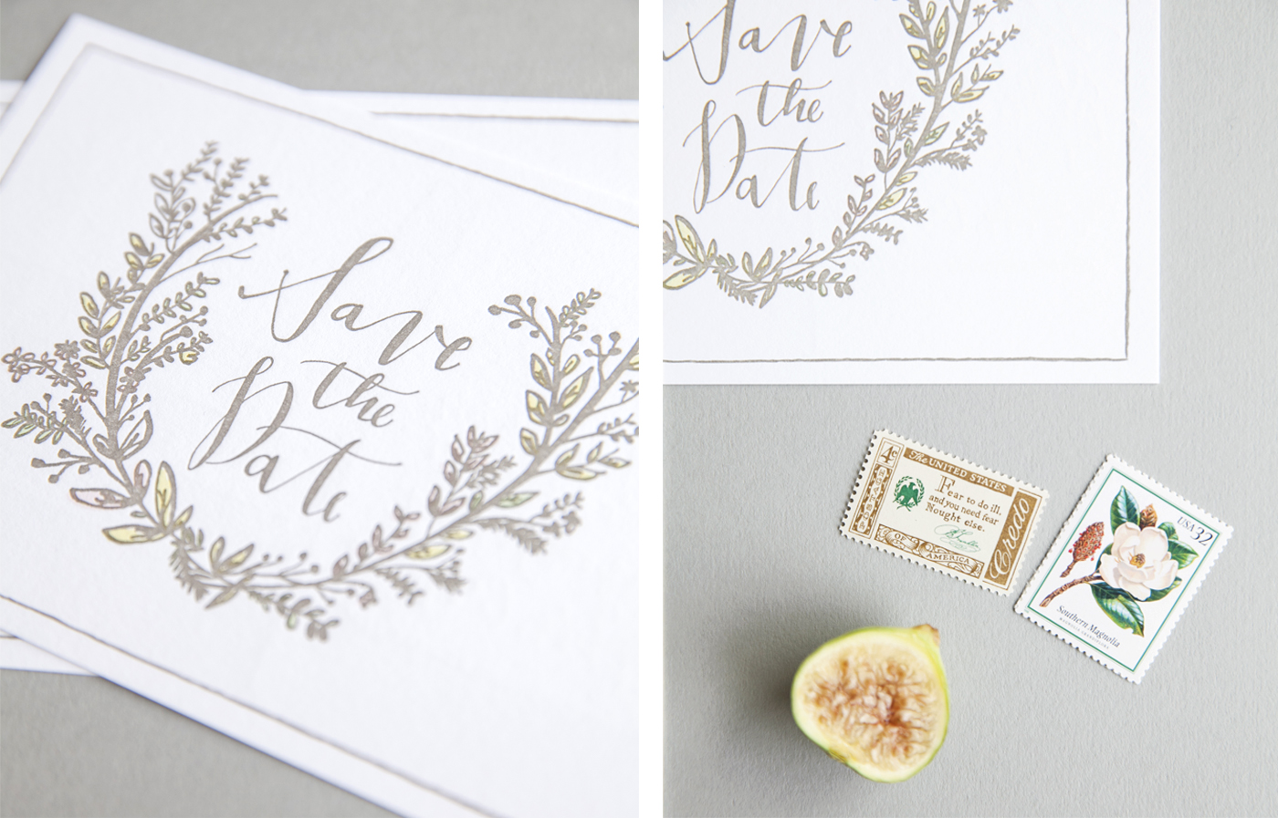 la Happy Calligraphy Letterpress Save the Date