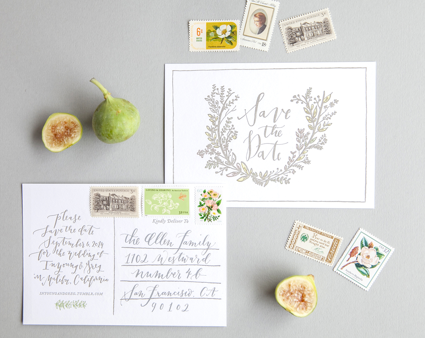 la Happy Calligraphy Save the Date Postcard