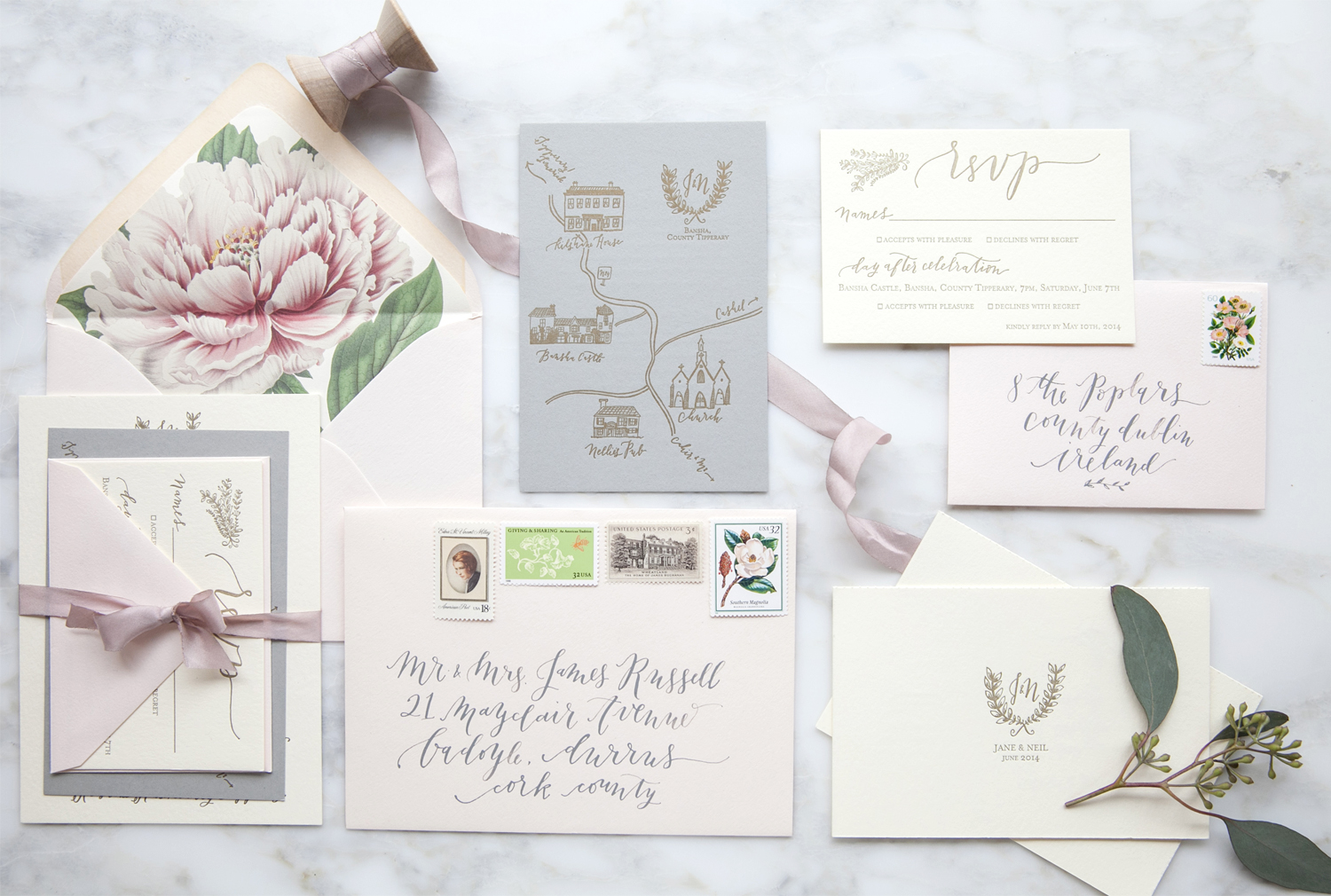 la Happy Calligraphy letterpress invitation set