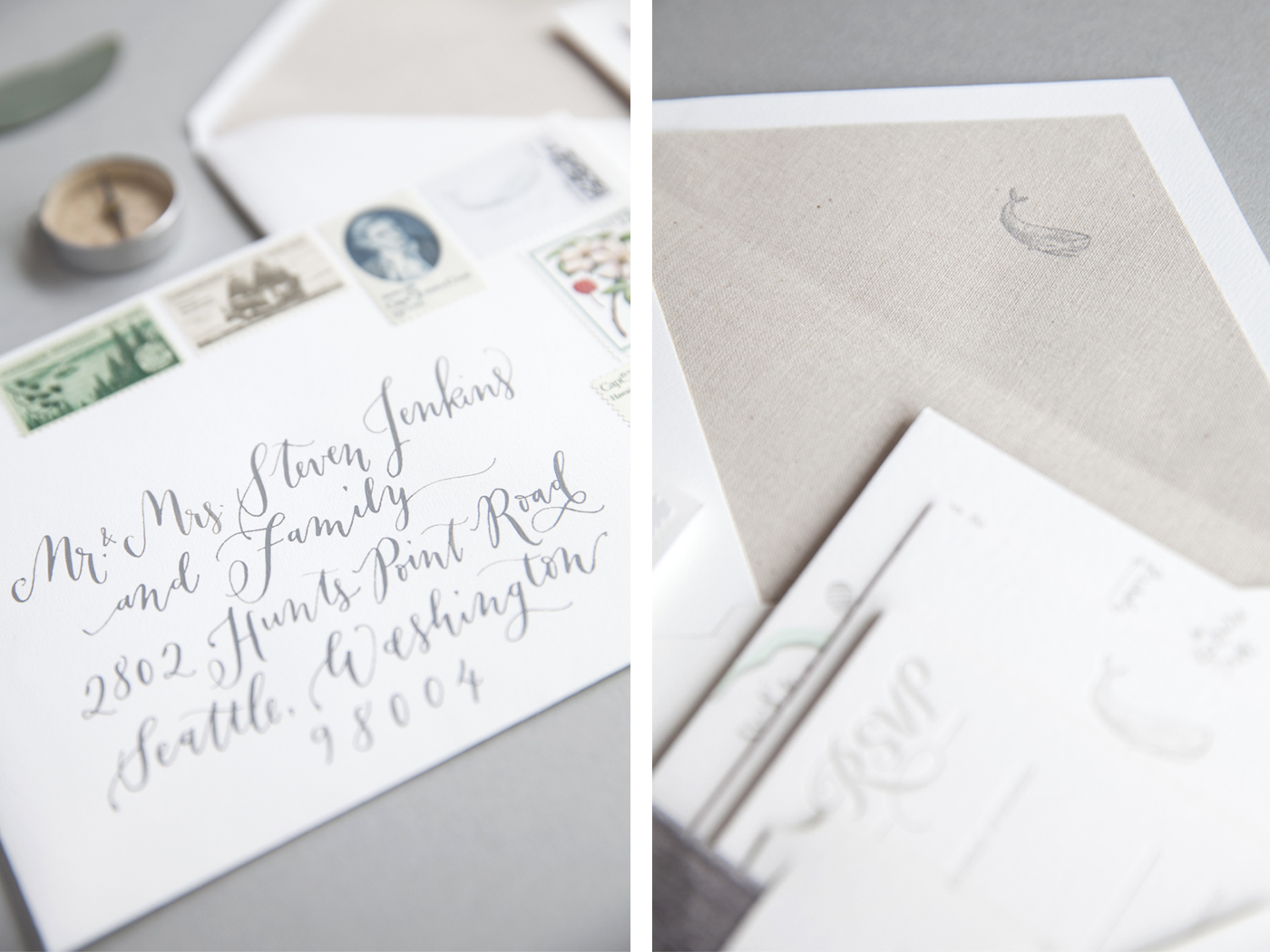 la Happy Letterpress Envelope Liner and Calligraphy Addressing