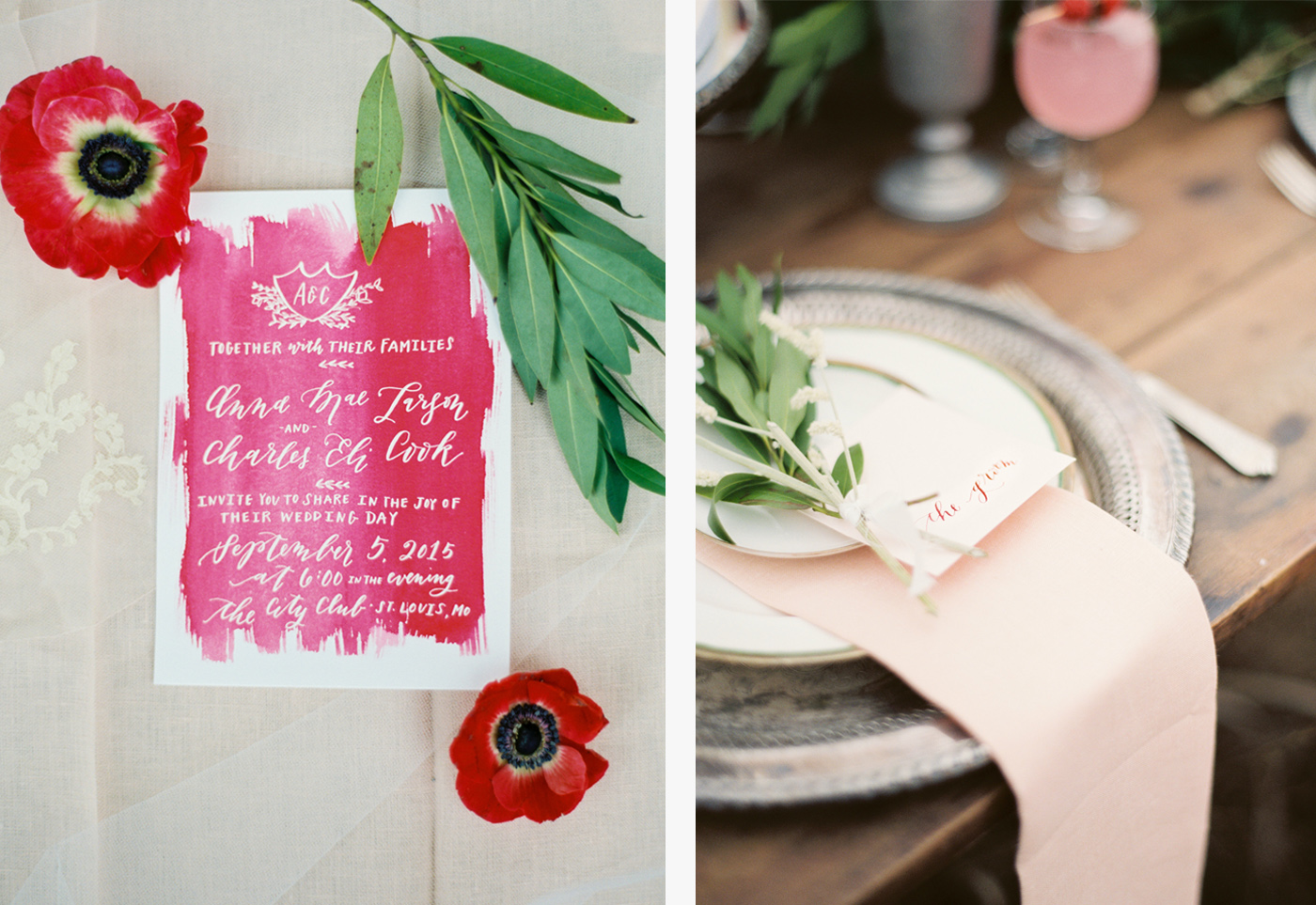 la Happy calligraphy and watercolor invitation