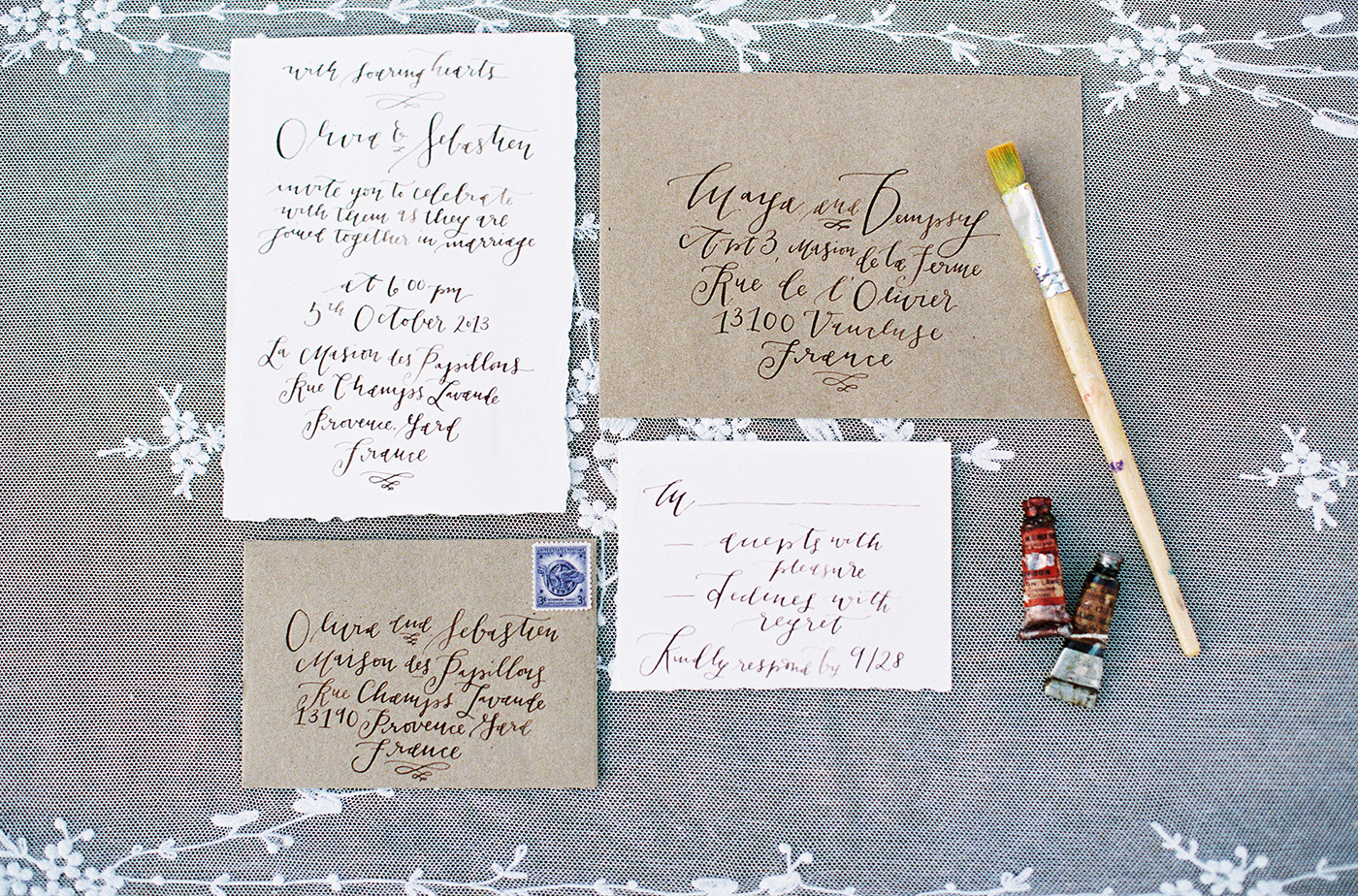 la Happy rustic calligraphy invitation set