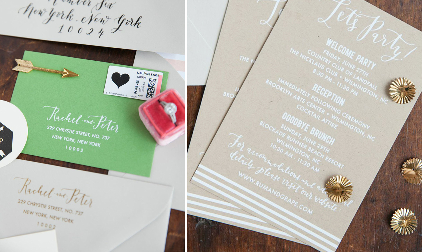 la Happy Colorful foil invitation set