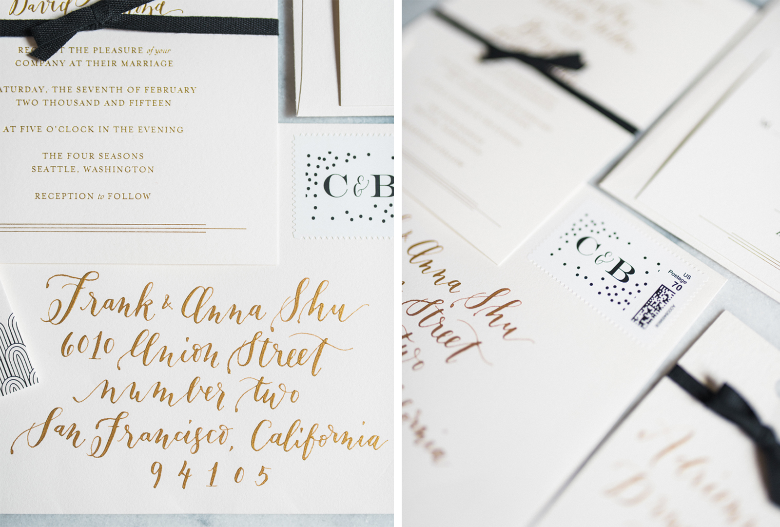 la Happy Gold Foil Calligraphy Invitation Set