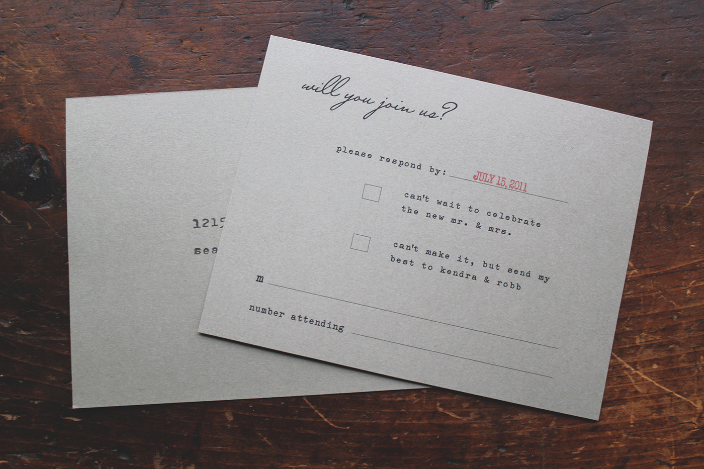 la Happy Rustic Invitation Set Response Card