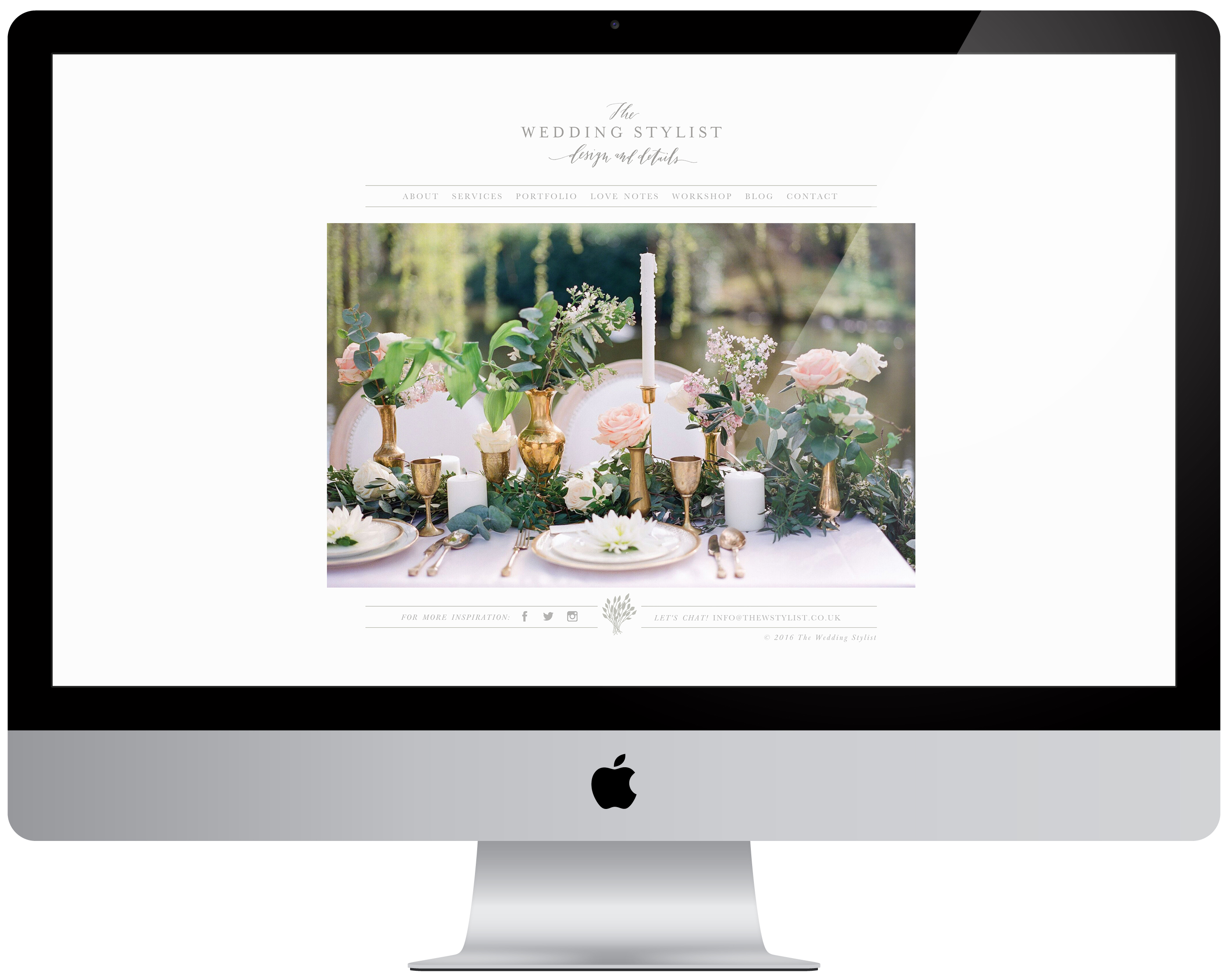 wedding stylist homepage by la happy design