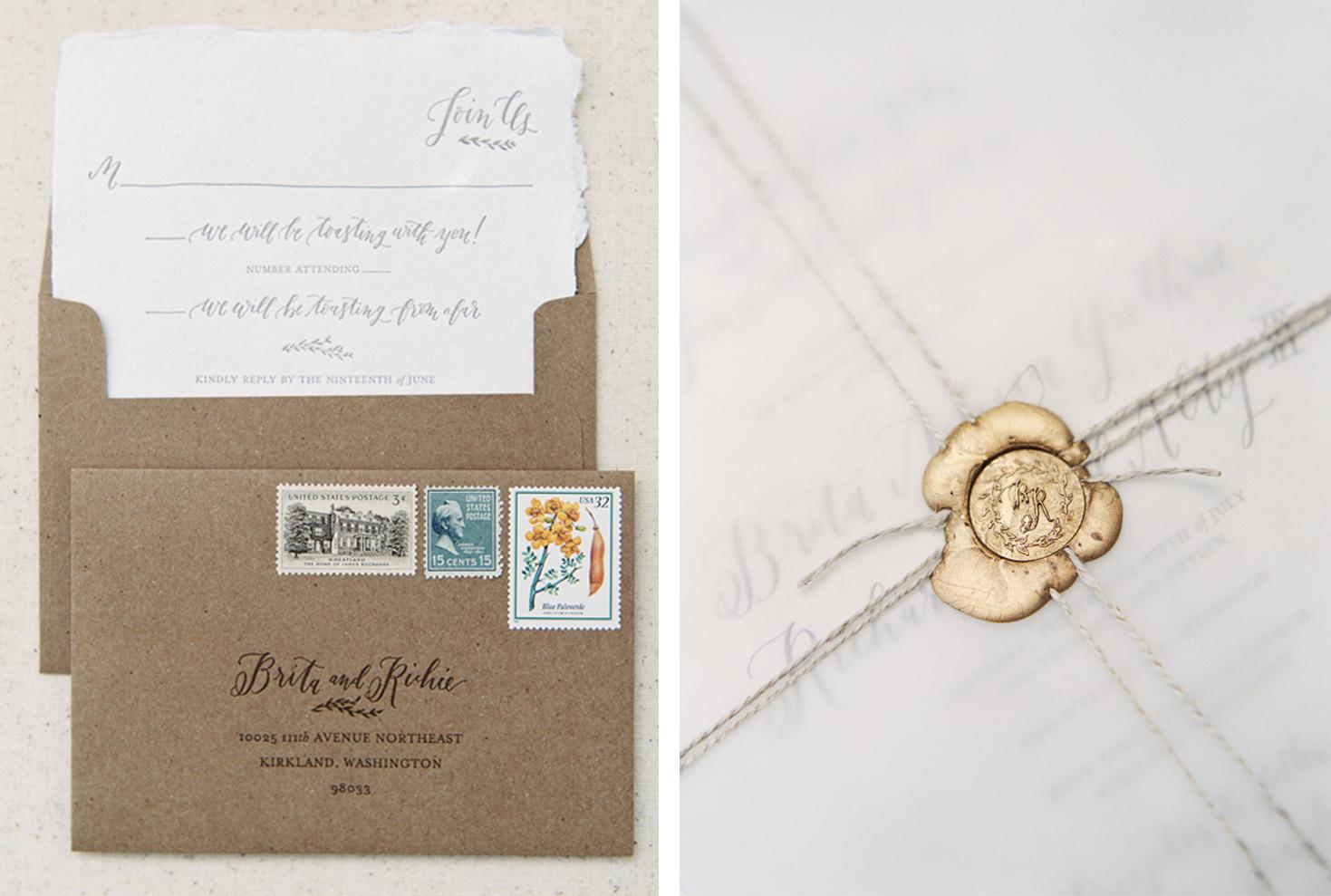 la Happy Design Calligraphy and Letterpress Printed Invitation Set