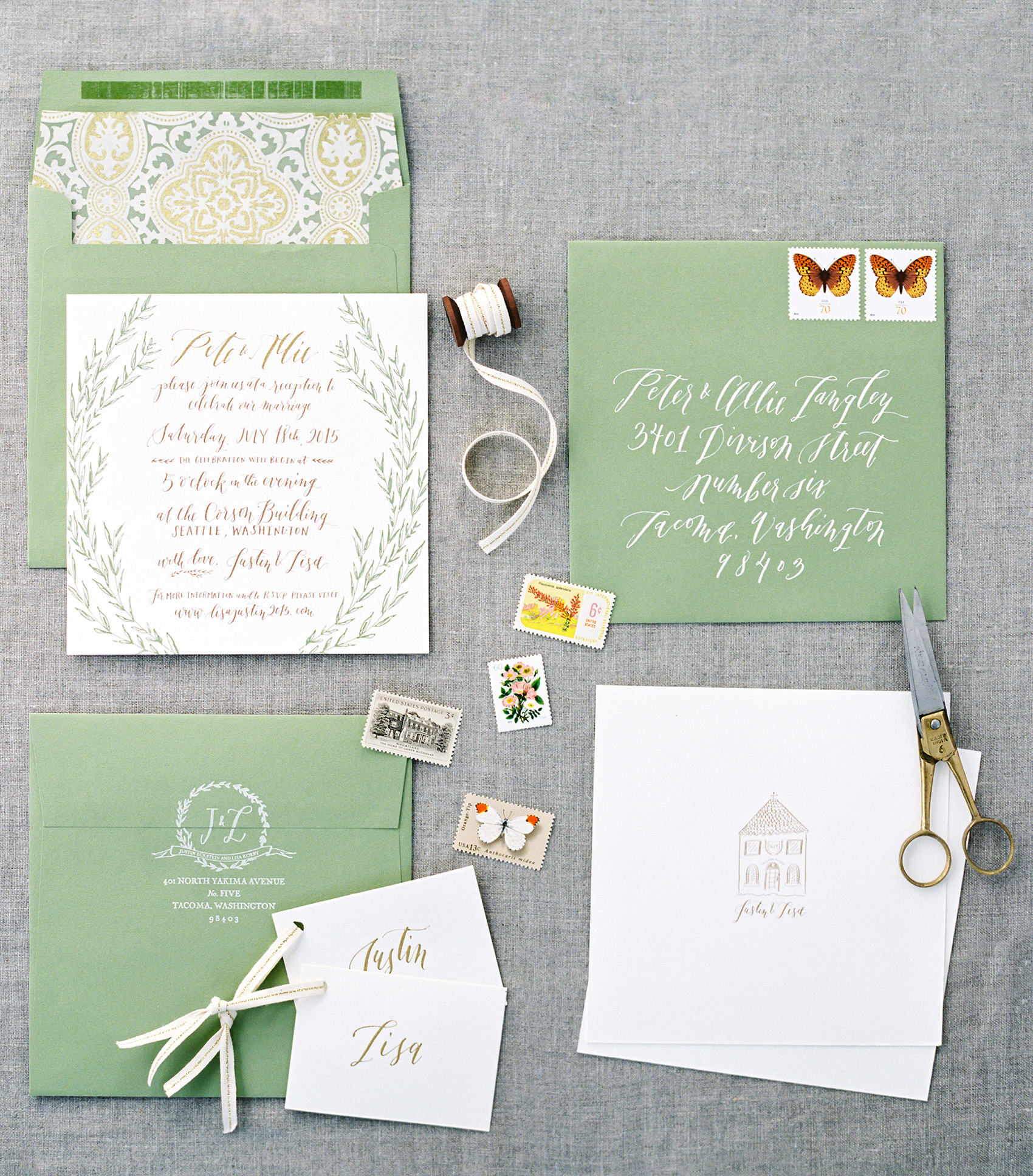 la Happy Calligraphy & Design Invitation Set Corson Building Seattle