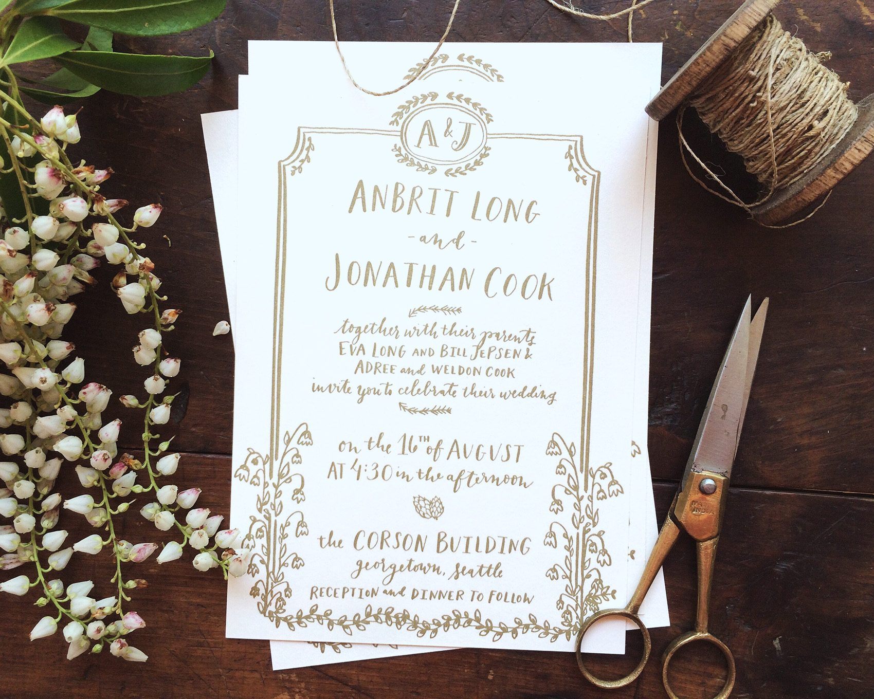 la Happy Design & Calligraphy illustrated invitation