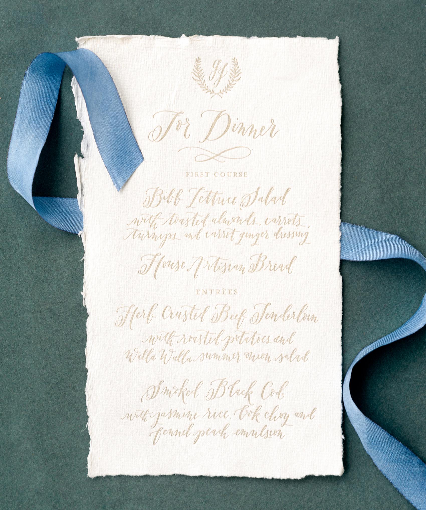la Happy design letterpress and calligraphy menu
