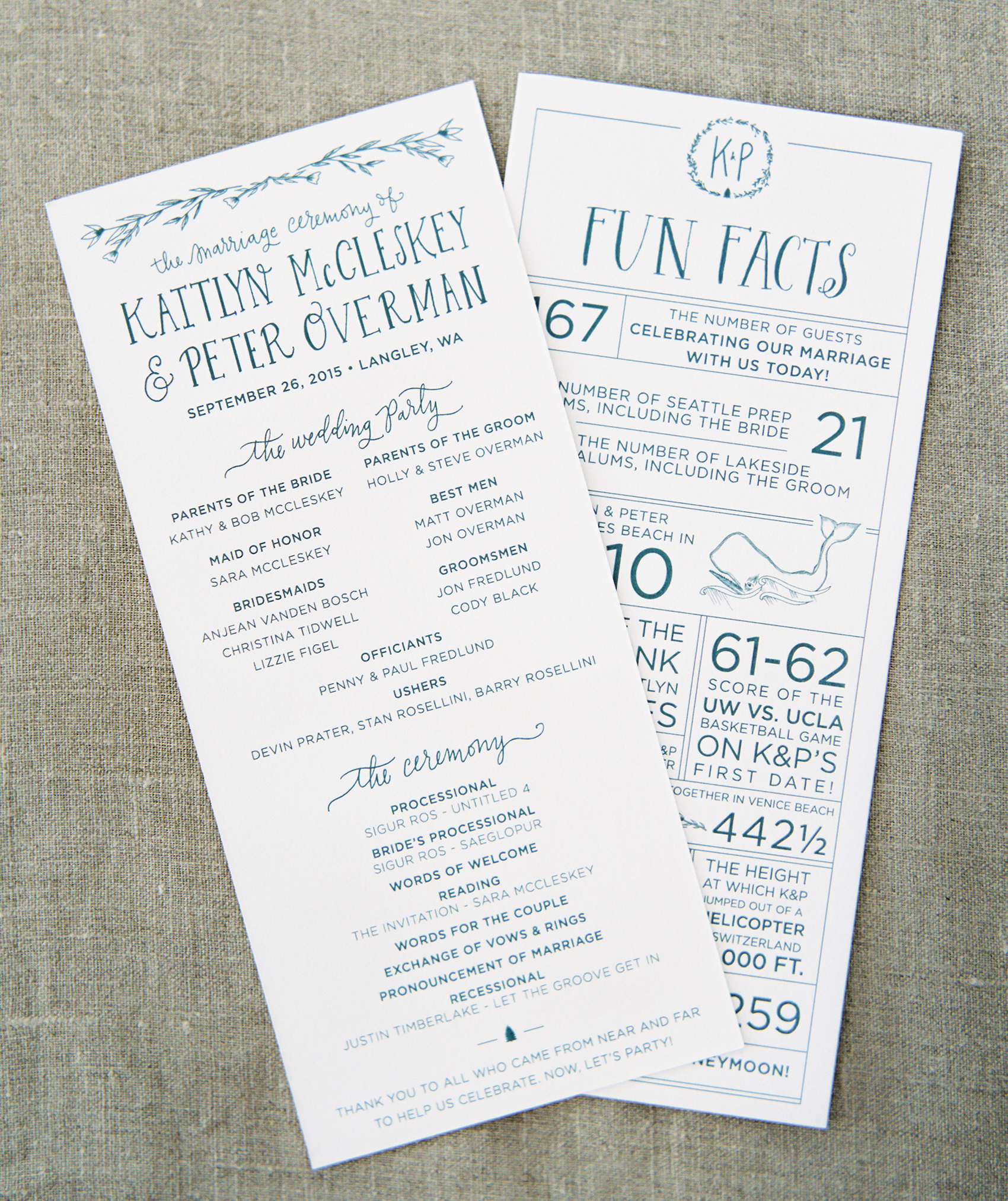 la Happy Design Illustrated Wedding Programs